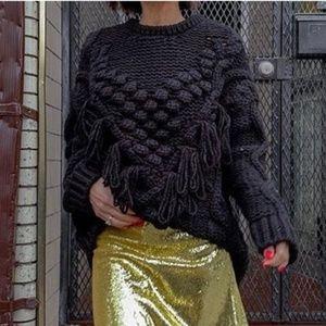 Zara Cable Knit Fringe PomPom Sweater
